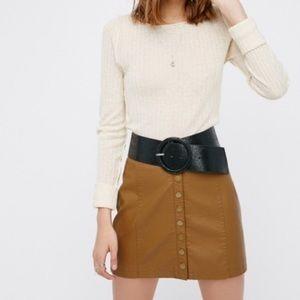 Free People Oh Snap Vegan Leather Mini Skirt